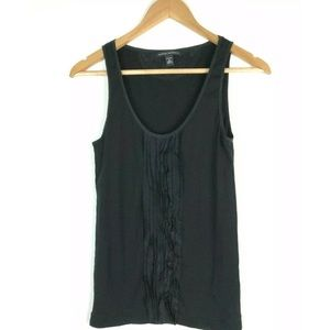 Banana Republic Stretch M Cami Ruffled Silk Black